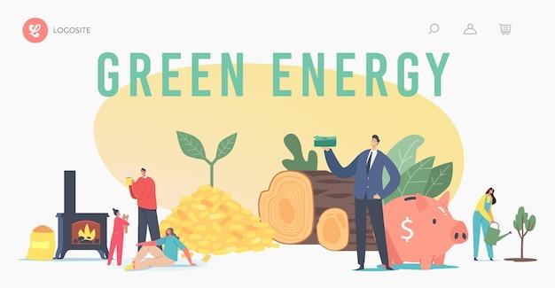 Szablon strony docelowej zielonej energii. ludzie używają biowęgla. postacie rodzinne ogrzewające dom węglem biologicznym w kominku, kłody drewna i pellety. ekologia, paliwo naturalne. ilustracja kreskówka wektor