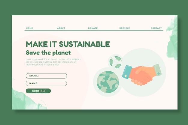 Szablon strony docelowej zrównoważonej odzieży