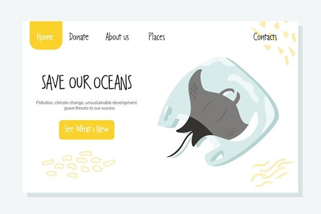 Szablon strony ekologicznej z płaszczką w plastikowej torbie. zapisz koncepcję mórz i oceanów.