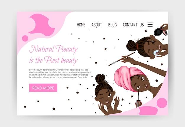 Szablon strony głównej dla salonów kosmetycznych, sklepów kosmetycznych. styl kreskówki. ilustracja wektorowa.