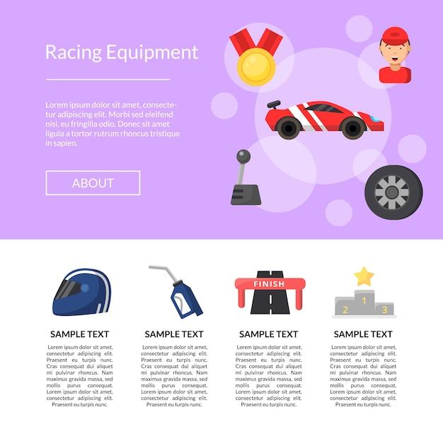 Szablon strony ikony płaskie wyścigi samochodowe