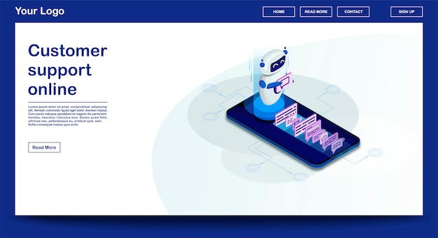 Szablon strony internetowej chatbot z izometryczną ilustracją
