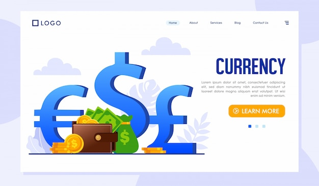 Szablon strony internetowej currency landing page
