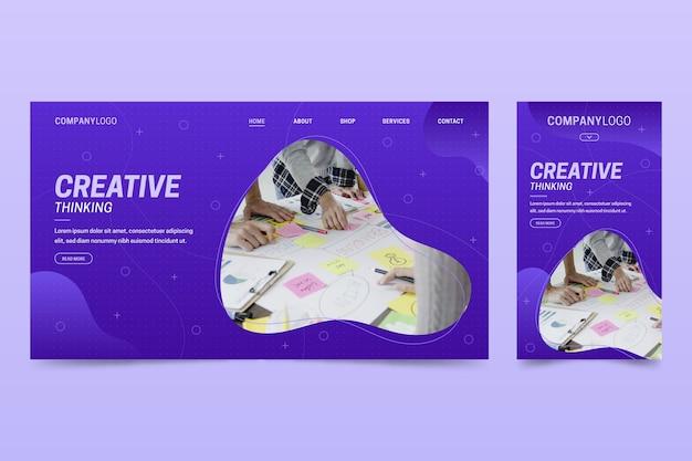 Szablon strony internetowej dla laptopów i telefonów na temat kreatywności
