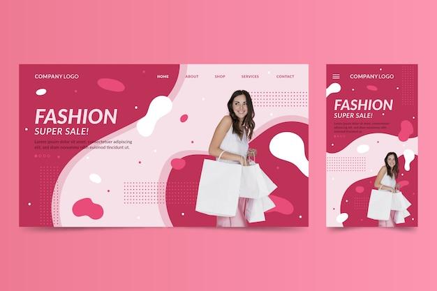 Szablon strony internetowej dla laptopów i telefonów na temat mody