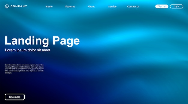 Szablon strony internetowej dynamiczny kolorowy fala wibrujący płyn strona docelowa