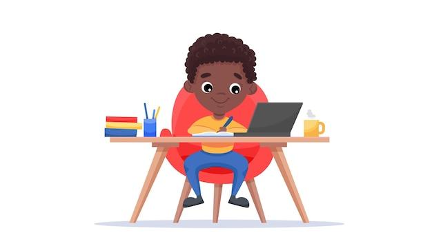 Szablon strony internetowej edukacji online. koncepcja e-learningu. afroamerykanin uczy się z laptopem.