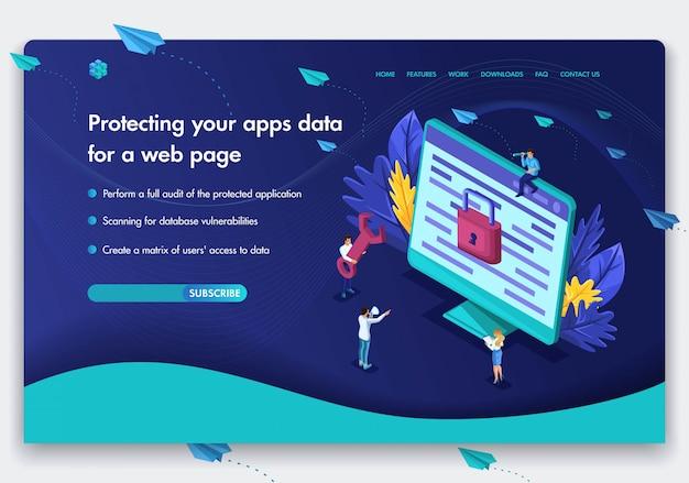 Szablon strony internetowej firmy. izometryczna koncepcja pracy ludzi nad ochroną danych komputerowych dla strony internetowej. ochrona danych aplikacji internetowych