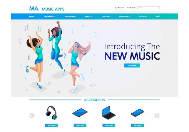 Szablon strony internetowej. isometric concept muzyczna strona docelowa do sprzedaży akcesoriów muzycznych i aplikacji, młode dziewczyny słuchają muzyki. łatwy do edycji i dostosowania