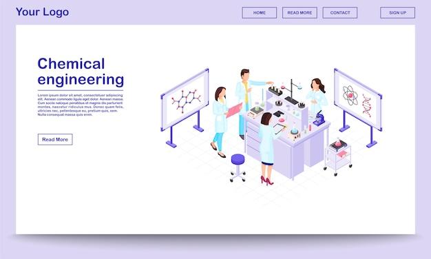 Szablon strony internetowej izometryczny inżynierii chemicznej. badacze biochemii wykonujący testy w zlewkach.