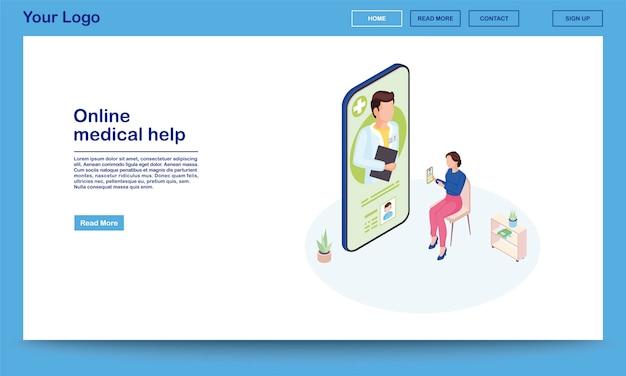 Szablon strony internetowej izometryczny pomocy medycznej online. 3d pacjent wyjaśnia objawy za pomocą aplikacji mobilnej ehealth. klient konsultujący się z lekarzem. strona główna promocji aplikacji na smartfony telemedycyna