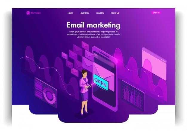 Szablon strony internetowej. koncepcja izometryczna email skrzynka odbiorcza komunikacja elektroniczna. e-mail marketing, badania marketingowe. łatwa do edycji i dostosowania strona docelowa