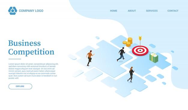 Szablon strony internetowej konkursu na finanse firmy lub strona docelowa w stylu izometrycznym