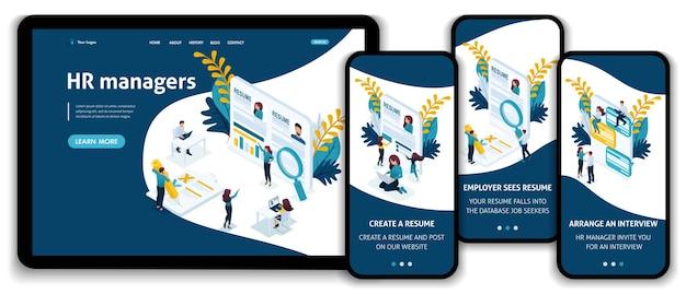 Szablon strony internetowej landing page koncepcja izometryczna wybierz szukanie pracy, menedżera hr, rozmowę kwalifikacyjną z pracodawcą. łatwy do edycji i dostosowywania, adaptacyjny.
