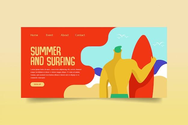 Szablon strony internetowej lato i surfowanie strona docelowa