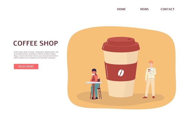 Szablon strony internetowej lub strony docelowej dla kawiarni na wynos