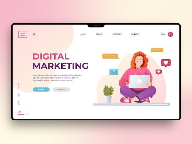 Szablon strony internetowej marketingu cyfrowego z młodą kobietą pracującą na laptopie. strategia biznesowa, wzmocnij swoją markę. ilustracja wektorowa w płaskim stylu dla telefonów komórkowych, plakatów, banerów i tworzenia stron internetowych