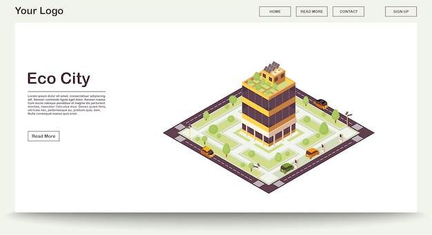 Szablon strony internetowej miasta ekologicznego z ilustracją izometryczną. inteligentny budynek z sieciami słonecznymi, roślinami. zielony dom. zrównoważone środowisko. projekt interfejsu www. koncepcja 3d strony docelowej