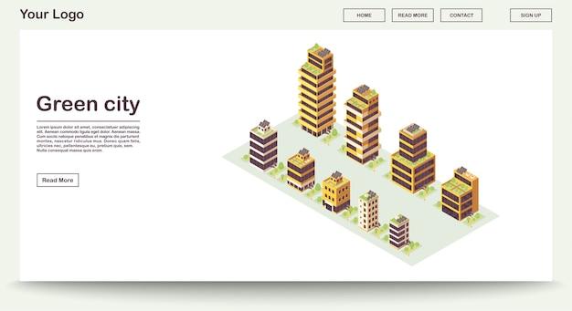Szablon strony internetowej miasta zielonego z ilustracją izometryczną. inteligentne budynki z sieciami słonecznymi na dachu. eko miasto. zrównoważone środowisko. projekt interfejsu www. koncepcja 3d strony docelowej