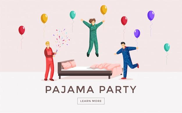 Szablon strony internetowej piżamy. nocleg docelowa strona nocna, nocleg nocny, koncepcja plakatu strony snu. szczęśliwi młodzi ludzie w piżamie ma zabawy płaską ilustrację z typografią