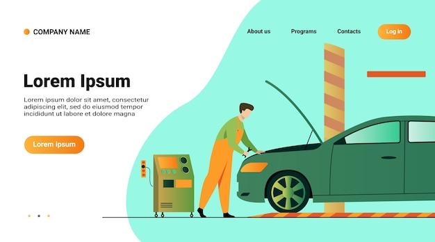Szablon strony internetowej, strona docelowa z ilustracją mechanika samochodowego naprawiającego silnik pojazdu na białym tle płaskiej ilustracji wektorowych