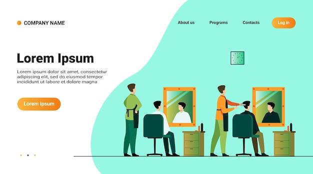Szablon strony internetowej, strona docelowa z ilustracją mężczyzn siedzących w salonie fryzjerskim na białym tle ilustracji wektorowych płaski