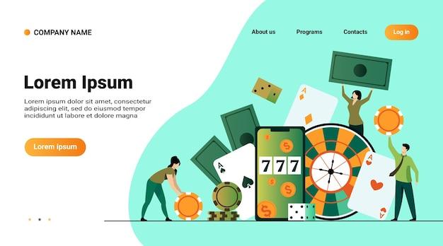 Szablon strony internetowej, strona docelowa z ilustracją szczęśliwych malutkich ludzi uprawiających hazard w kasynie online na białym tle ilustracji wektorowych płaski