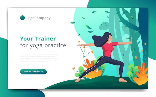 Szablon strony internetowej trenera jogi ćwiczy w otwartym szablonie strony internetowej natury