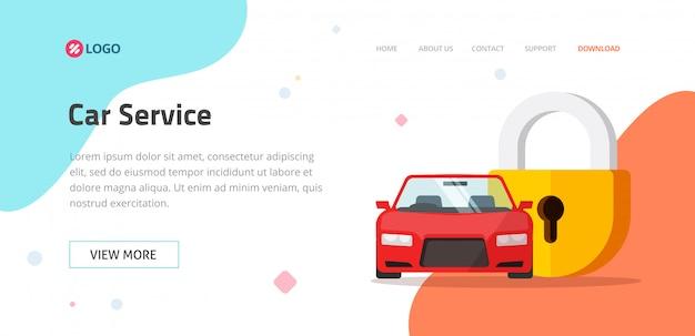 Szablon strony internetowej usługi ubezpieczenia samochodu lub ochrony pojazdu