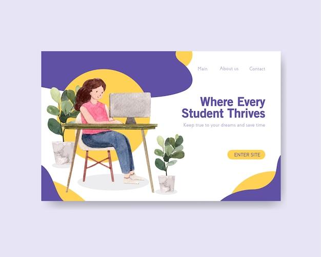 Szablon strony internetowej z akwarelą koncepcja edukacji online