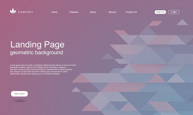 Szablon strony internetowej z geometrycznym kształtem tła