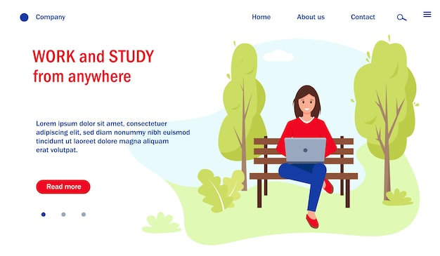 Szablon strony internetowej z kobietą pracującą lub uczącą się z laptopem w parku