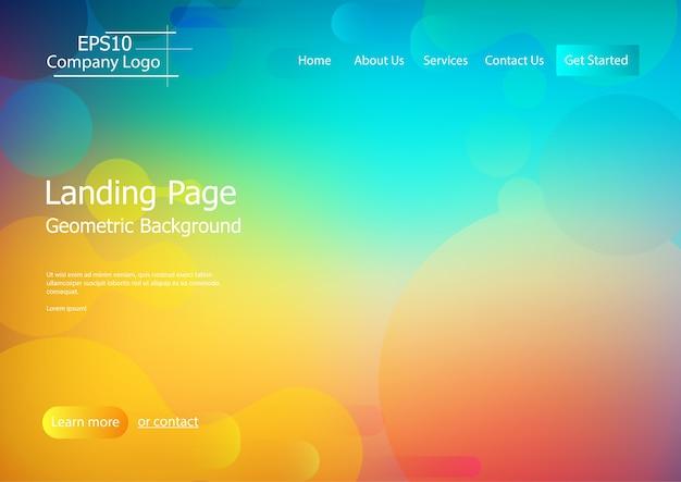 Szablon strony internetowej z kolorowym geometrycznym kształtu tłem
