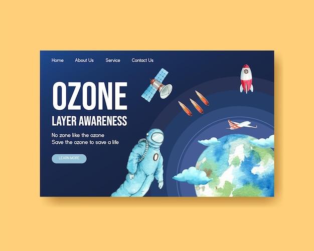 Szablon strony internetowej z koncepcją światowego dnia ozonu, styl akwareli