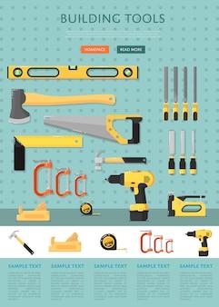 Szablon strony internetowej z narzędziami budowlanymi do sklepu
