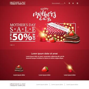 Szablon strony internetowej z rabatem na dzień matki