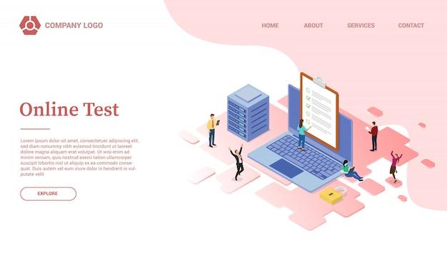 Szablon strony internetowej z testem lub egzaminem lub strona główna w stylu izometrycznym