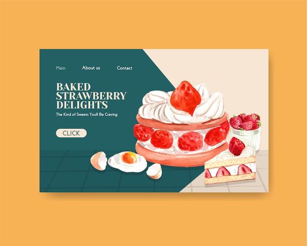 Szablon strony internetowej z truskawkowym pieczeniem projektuje dla interneta, społeczności online i reklamuje akwareli ilustrację