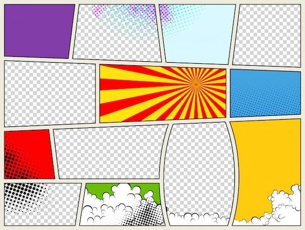 Szablon strony komiksu z promieniowymi efektami półtonów i promieniami w stylu pop-art. kolorowe puste tło.