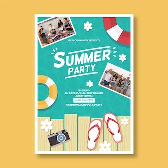 Szablon strony lato plakat ze zdjęciem