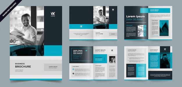 Szablon strony nowoczesny niebieski broszura