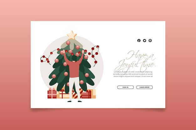 Szablon strony płaska konstrukcja christmas docelowej strony