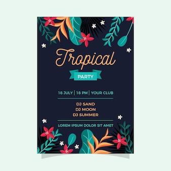 Szablon strony tropikalnej plakat z kwiatów i liści