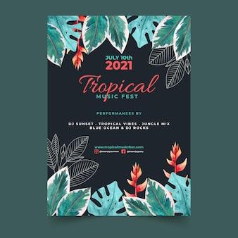 Szablon strony tropikalnej ulotki
