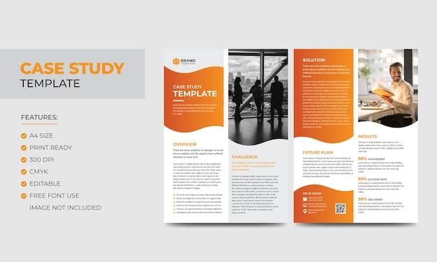 Szablon studium przypadku korporacyjny nowoczesny biznes szablon dwustronnych ulotek i plakatów projekt kolorowej broszury