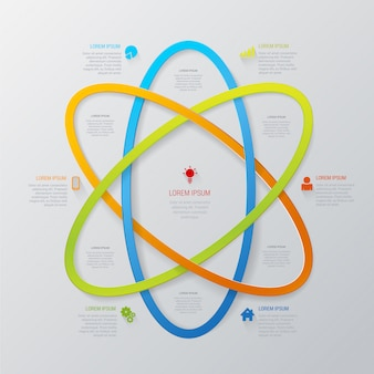 Szablon stylu infografiki streszczenie technologia linii wielokolorowych obszaru atomu.