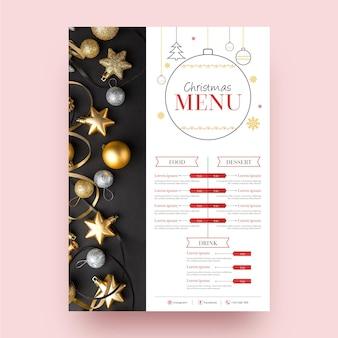 Szablon świąteczne menu świąteczne