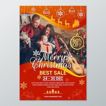 Szablon świątecznego plakatu do sprzedaży ze zdjęciem