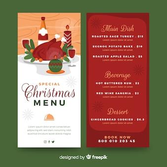 Szablon świąteczny menu płaska konstrukcja