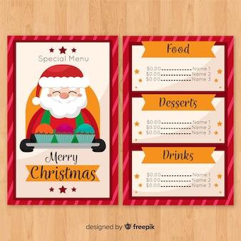 Szablon świąteczny menu z santa